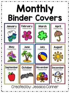 Stay organized with these FREE monthly binder covers! Perfect for organizing resources all year long and especially helpful when planning for the new school year. This fun freebie includes 12 binder covers for each month and spine labels. Preschool Rooms, Preschool Lessons, Preschool Classroom, Future Classroom, In Kindergarten, Preschool Activities, Preschool Themes By Month, Preschool Curriculum Map, Classroom Decor