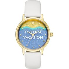 Kate Spade I Need A Vacation Metro Watch ($195) ❤ liked on Polyvore featuring jewelry, watches, kate spade watches, polish jewelry, kate spade, gold tone jewelry and gold tone watches