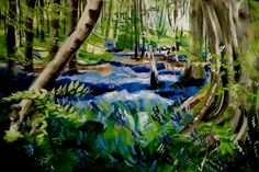 """(T-3rd) Eva Ates - Bluebell Woods in Farnham Acrylic on canvas 24"""" x 36"""" I went…"""