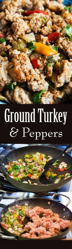 1-Pot, 30 minute, quick and easy dinner! Sautéed ground turkey with onions, garlic, and bell peppers. Makes a GREAT midweek meal! Budget-friendly too. On http://SimplyRecipes.com (Ground Recipes)