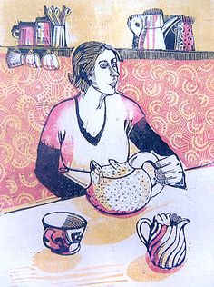 The Cup that Cheers - Elaine Nason (linocut)