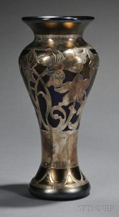 Art Nouveau Silver Overlay Glass Vase