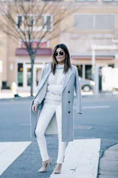 Winter White Look -   Grey Overcoat | Aritzia Sweater | All Saints Denim | Vince Camuto Nude Pumps | Ray Ban Aviators