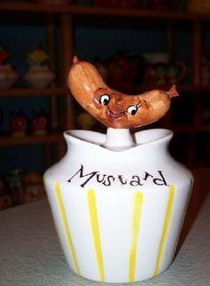 Vintage 1950's Lefton Holt Howard Hot Dog Condiment Mustard Jar