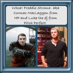 Pitch Perfect/ Harry Potter. Couldn't believe my eyes. Cormac MacLaggen is Luke the dj on Pitch Perfect!