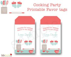 COOKING BAKING Birthday Party Printable by littlebirdieprints, $10.00