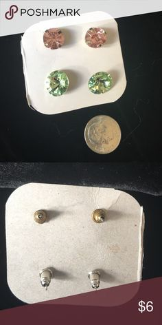 🆕Pink & green sparkle gem earrings Pink & green sparkle gem earrings.           ✅I ship same or next day ✅Bundle for discount Jewelry Earrings