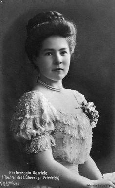 Gabriele, Archduchess of Austria-Teschen (1887–1954). She was the sixth daughter of Archduke Friedrich, Duke of Teschen and his wife Princess Isabella of Croÿ.