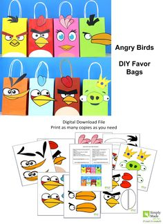 DIY Angry Bird Favor Bags. Simply Download, Print, Cut and Paste. Print as many copies as you need.