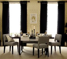 Black Magic    Zebra stripes and fringed curtains are playful but still sophisticated. To add warmth and prevent the space from feeling over-the-top, choose wallpaper in a creamy or gold-toned palette.