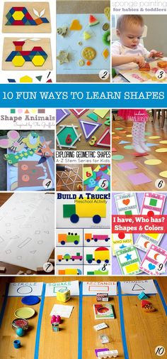 Super Fun Shape Games for Toddlers Love these different activities to help little ones learn shapes!Love these different activities to help little ones learn shapes! Learning Shapes, Kids Learning Activities, Fun Learning, Preschool Activities, Shape Activities, Indoor Activities, Learning Spanish, Summer Activities, Family Activities