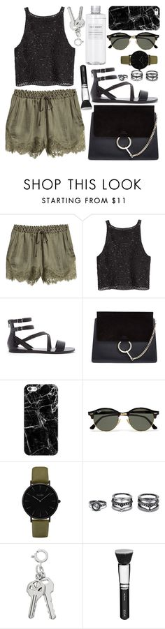 """Summer evenings"" by marbiotic ❤ liked on Polyvore featuring H&M, Forever 21, Chloé, Muji, Casetify, Ray-Ban, CLUSE, LULUS and ZOEVA"
