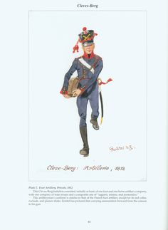 The Confederation of the Rhine - Cleves - Berg: Plate 2. Foot Artillery, Private, 1812