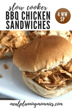 Simple Slow Cooker BBQ Chicken Sandwiches - Just 4 WW FreeStyle Points per sandwich... with the bun! - Meal Planning Mommies Ww Recipes, Crockpot Recipes, Mouse Recipes, Turkey Recipes, Recipies, Shredded Bbq Chicken, Chicken Sandwich Recipes, Slow Cooker Bbq, Homemade Bbq