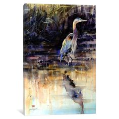 iCanvas 'Heron' by Dean Crouser Canvas Print