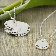 Hand-Stamped Mother and Children Necklace