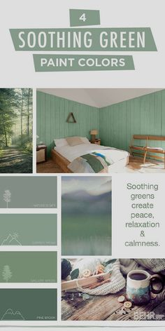 The most frequent asked question is what colors can I use to make my room feel relaxed, serene and peaceful after a long day. Our answer is simple! It is paint your bedroom in a tranquil green tone to…More Click Visit above for more options Green Paint Colors, Green Colour Palette, Interior Paint Colors, Colour Palettes, Interior Decorating, Interior Design, Decorating Ideas, Interior Modern, Relax