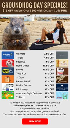 Groundhog Day Specials: Walmart 3.5% OFF, Home Depot 10.5% OFF, Lowe's 10.5% OFF & More