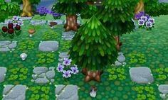 Animal Crossing: New Leaf & HHD QR Code Paths , clover-stumps: mushrooms and clovers grow in the...