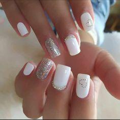 White Acrylic Nails, Best Acrylic Nails, Acrylic Nail Designs, White Nail, Chic Nails, Stylish Nails, Classy Nails, Gorgeous Nails, Pretty Nails