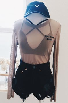 Bad News Babes Embroidery Mesh Top