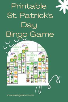Add some extra fun to yuor St. Patrick's Day party with this printable St. Patrick's Day themed bingo game. Get 10 different boards. Printable Bingo Games, Free Printables, Bingo Board, St Patrick's Day Decorations, Family Night, Name Cards, Daily Motivation, Quality Time, Family Activities