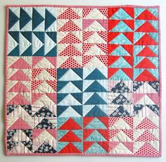Mini Quilt of the Month, July: Flying Geese Bonnie Hunter, Quilt Festival, Nine Patch, Amy Butler, Small Quilts, Mini Quilts, Scrappy Quilts, Twinkle Twinkle Little Star, Vintage Star