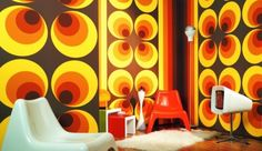 Bring retro styles to your home with our selection of old-school mural wallpaper. Decorate your walls with funky, retro wallpapers in your home in order to make a strong fashion statement. 1960s Interior, Retro Interior Design, Retro Design, Graphic Design, Eclectic Design, Classic Interior, Deco Retro, Retro Vintage, Retro 2