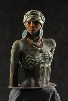 """""""Almitra,"""" ceramic sculpture by Woodrow Nash, approx.  32"""" high x 19"""" wide by 11"""" deep, Woodrow Nash Studios, Ohio"""