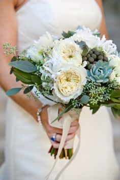 My friend, Emily, had the most amazing succulent bouquet at her San Diego wedding.