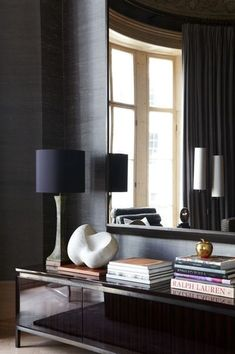 The wall color and lamp shade is awesome. And the window reflection in the mirror is perfect. Beautiful.(bh)