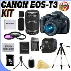 Buy Cheap Canon EOS Rebel T3 12.2 MP CMOS Digital SLR with 18-55mm IS II Lens (Black) & Canon EF-S 55-250mm f/4.0-5.6 IS Telephoto Zoom Lens (2 Lens Kit!!!) + W/16GB SDHC Memory +Extra LPE10 Battery + AC/DC Rapid Charger + 3 Piece 58mm Filter Kit+ Deluxe Case w/Strap + Full Size Tripod + USB Card Reader + Memory Card Wallet + Accessory Kit