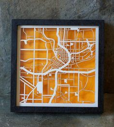 Amazing Atlanta Laser Cut mini map art with orange background By Collected Edition.