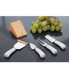 Cheese knife set with white ceramic handles, set of 4 cheese knives