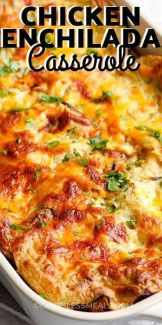 Easy Casserole Recipes, Casserole Dishes, Easy Chicken Enchilada Casserole, Burrito Casserole, Mexican Chicken Casserole, Cabbage Casserole, Chef Recipes, Dinner Recipes, Cooking Recipes