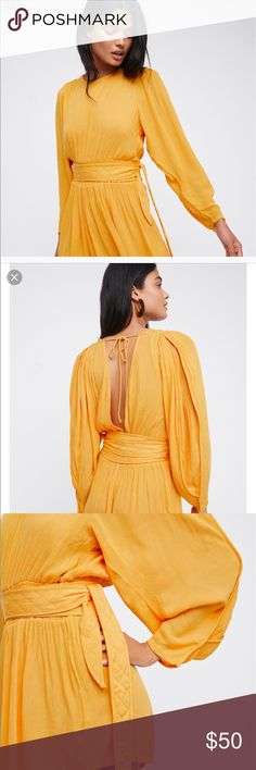 NWOT Free People just because romper Golden yellow, 100% rayon, made in India, absolutely stunning! NWOT Free People Dresses Midi