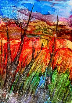 THE DISTANT HILLS...ALCOHOL INK MIXED MEDIA | Flickr - Photo Sharing!