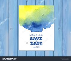 EPS 10 vector - Save the date wedding invitation with watercolor stain and typographic elements. Card template on a wooden background. Free fonts used: Nexa Rust, Alex Brush, Crimson Wedding Reception Invitations, Wooden Background, Save The Date, Rust, Royalty Free Stock Photos, Fonts, Dating, Template, Watercolor