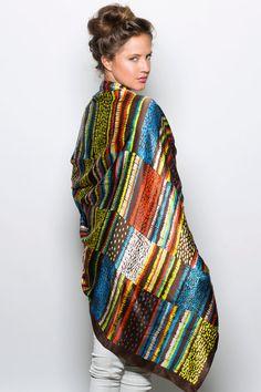 Dikla Levsky, Silk scarf, Printed multicolor scarf Oversized scarf