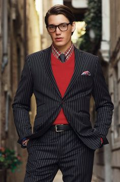 Pinstripe and red sweater with plaid shirt first class style., eb