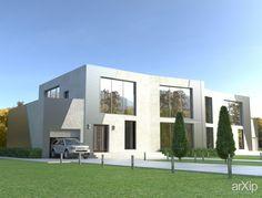 Блокированный дом на две семьи: архитектура, 2 эт | 6м, жилье, минимализм, 300 - 500 м2, фасад - штукатурка, каркас - ж/б, таунхаус #architecture #2fl_6m #housing #minimalism #300_500m2 #facade_plaster #frame_ironconcrete #townhouse arXip.com