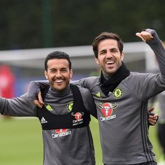 Looks like @_pedro17_ and @cescf4bregas enjoyed training yesterday! 😀#CFC #Chelsea