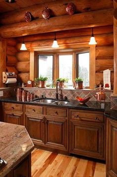 Cabin Kitchens On Pinterest Cabin Kitchens Log Cabin Kitchens And