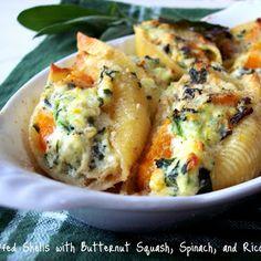 Butternut Squash, Ricotta and spinach stuffed shells... yum!
