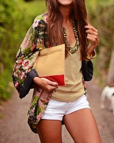 Print Silky Cocoon Cardigan + Tan Tank + White Shorts + Statement Necklace + Envelope Clutch