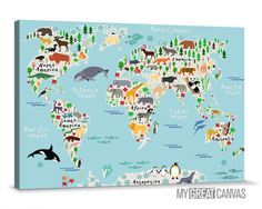 Animals World Map Canvas Prints | For Children and Kids Room World Map Canvas Print | Nursery Canvas Wall Art | Cartoon Animals Map Canvas