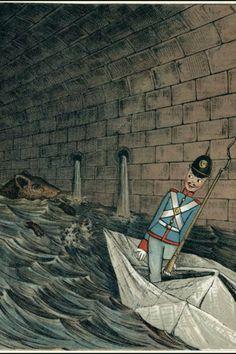 """Een Engelse illustratie uit 1879 voor 'De standvastige tinnen soldaat"""" door Hans Christian Andersen. Door Pritchett en Clifford Merton."""