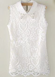 Wholesale Product Snapshot Product name is New 2015 Desigual Women Summer Famous Brand Sexy Blusa Renda Ladies Tops White Sleeveless Lapel Pearl Casual Lace Blouse White Lace Blouse, White Sleeveless Blouse, Look Chic, Lace Tops, Corsage, White Tops, White White, Blouse Designs, Shirt Blouses