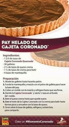 Pay helado de cajeta coronado