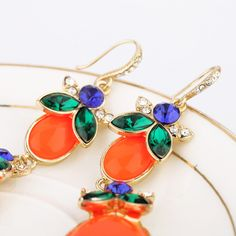 Orange Red Artificial Gemstone Dangle Earrings